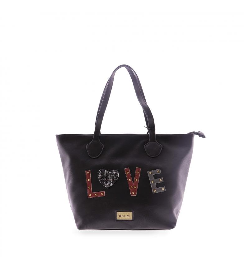Comprar FOR TIME Borsa shopper Love in nero -28x12x28 cm-
