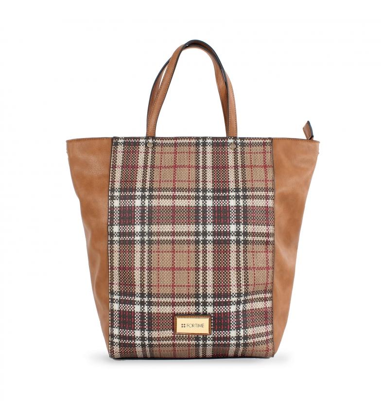 Comprar FOR TIME Tweed camel shopper bag -38x10x34 cm