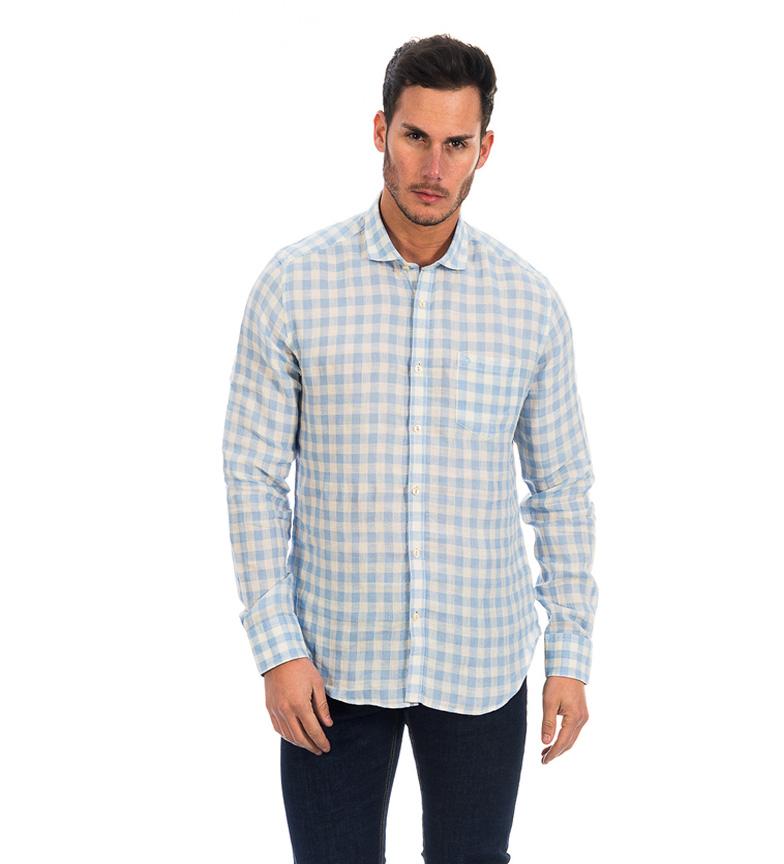 Fyord Camisa de lino Guam estampado cuadros blanco, celeste