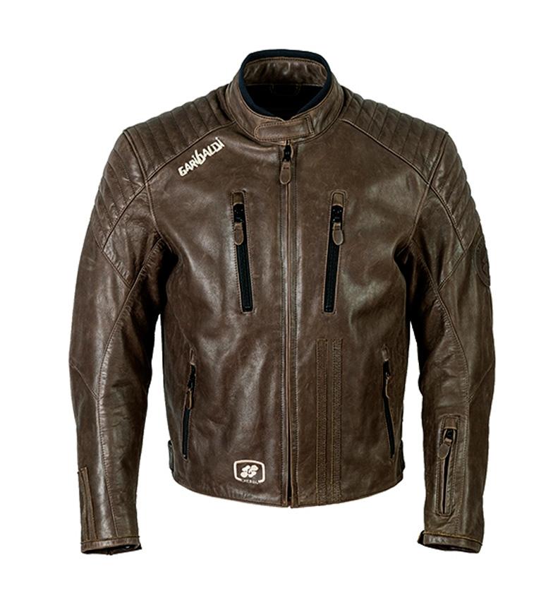 fdb43bba1e2 Comprar Garibaldi Chaqueta de piel Bullrider Vintage marrón - votre  boutique en ligne de Moto