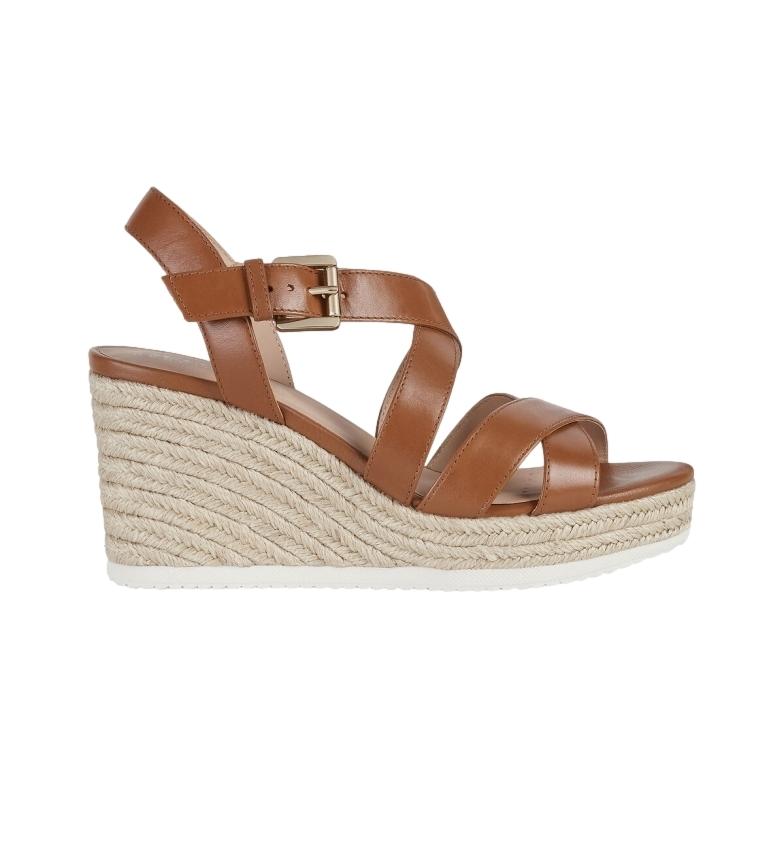 Comprar GEOX Sandálias de couro castanho Ponza -Cunha de altura: 8,5 cm