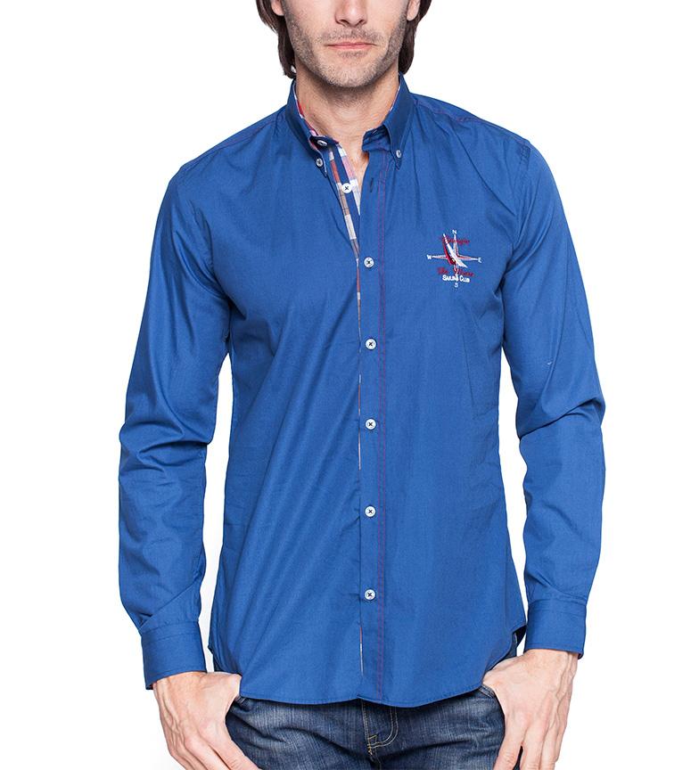 low priced 3c6ef 7ebfe Dettagli su Giorgio Di Mare - Vincitore Coppa camicia blu Uomo Casual  Cotone Manica lunga