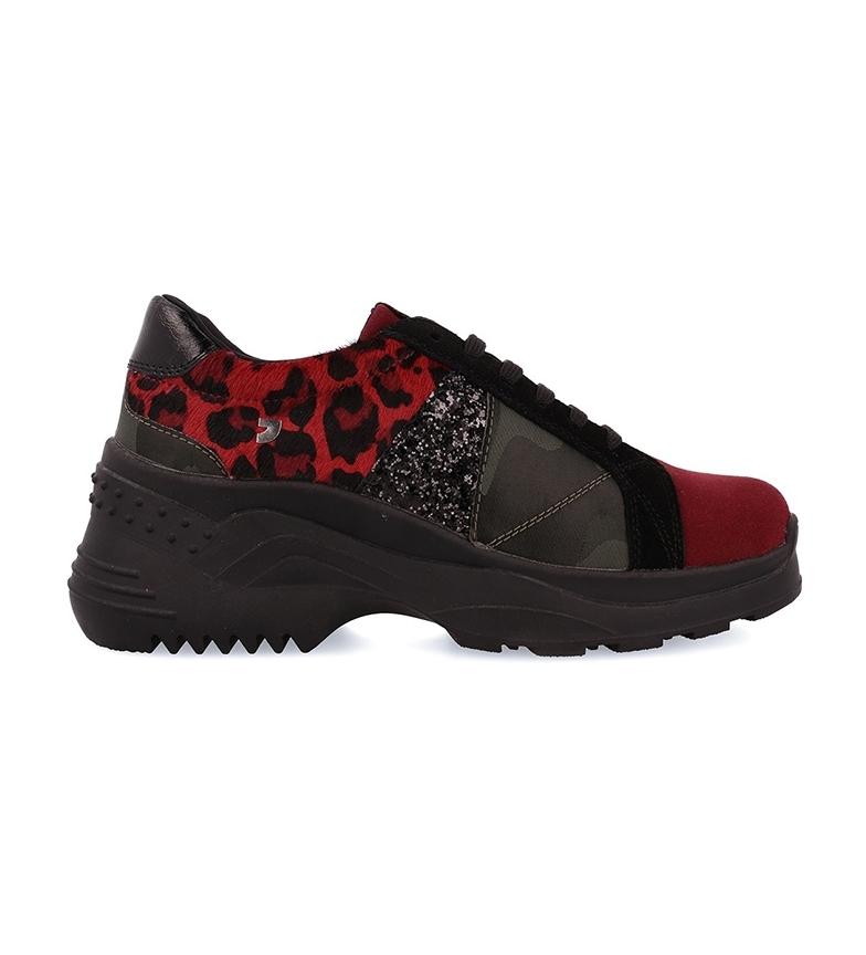 Comprar Gioseppo Zapatillas de piel Emmonak rojo, camuflaje  -Altura suela + cuña interior: 7cm-