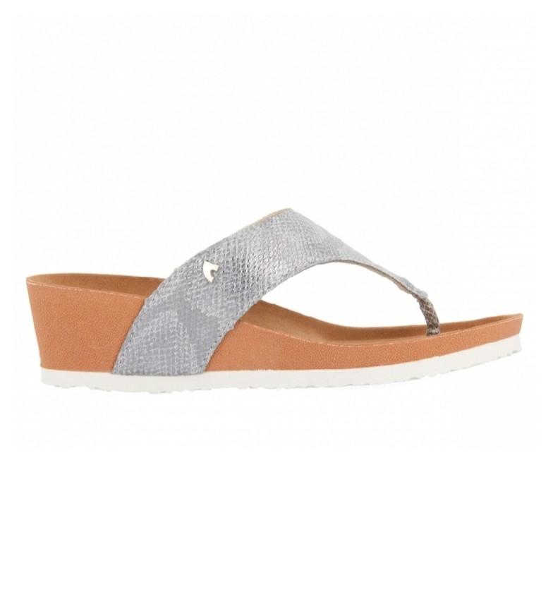 Gioseppo Flip flops Virton silver -wedge height 5cm