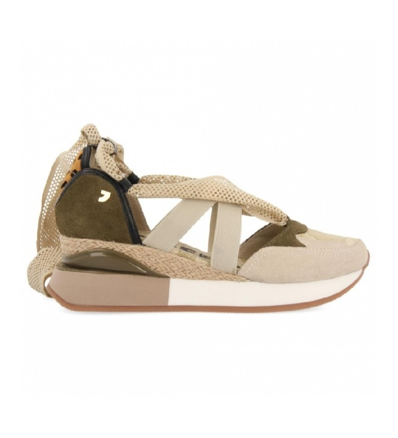 Comprar Gioseppo Elsmere beige and khaki leather sandals -Height wedge: 5.5 cm