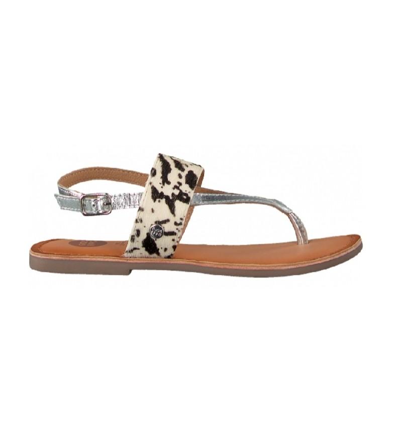 Gioseppo Purnia sandálias de couro estampado animal, prata