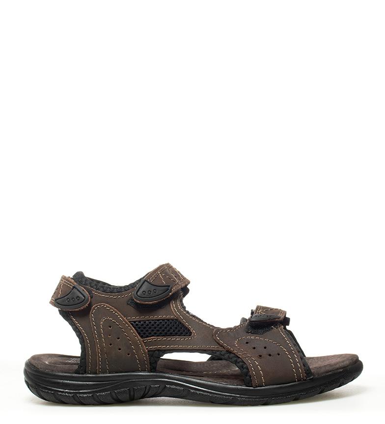 7fd9d6e1799 Gioseppo - Sandalias de piel Adrián marrón Hombre chico Plano Velcro ...