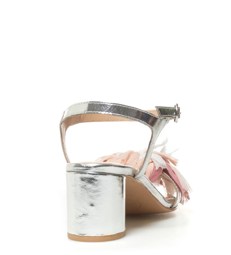 Gioseppo plateado 6 Claudia de Sandalias piel cm tacón Altura rzqrIAFw