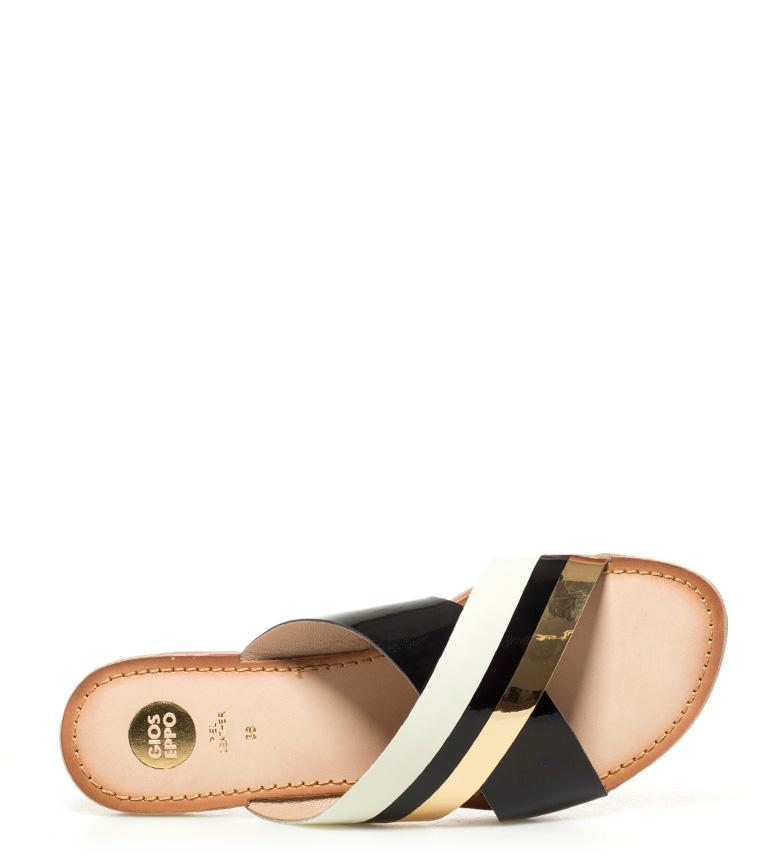 Hipatia Sandalias negro dorado piel de Gioseppo A71wqtdT