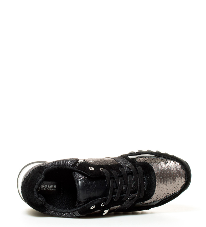 Gioseppo suela piel br cuña 6cm Altura br Spears plomo negro Zapatillas de rZAqxHBr