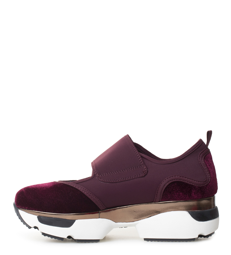 Gioseppo-Zapatillas-Modern-negro-Altura-suela-5cm-Mujer-chica-Granate-Tela miniatura 14