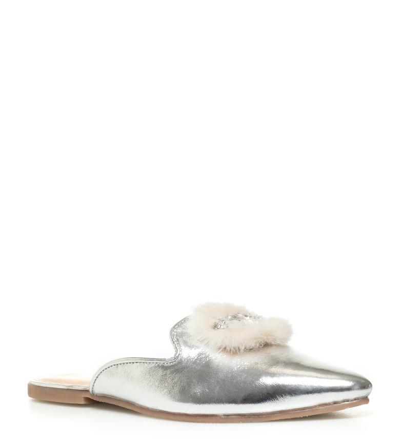 Piel Mileva Plata Gioseppo Mule Zapatos De 76fgYby