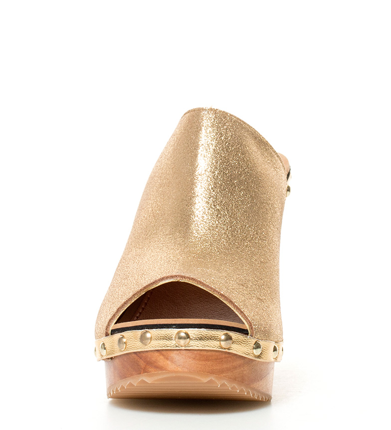 dorado Gioseppo tacón br de Altura 11cm piel plataforma Yesa br Zuecos 8rrOqI