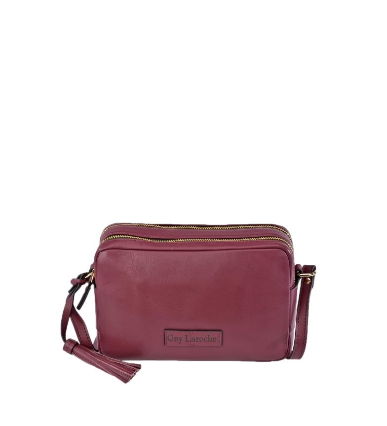 Comprar Guy Laroche Leather shoulder bag GL-11654B double cherry zipper -22x14x8cm