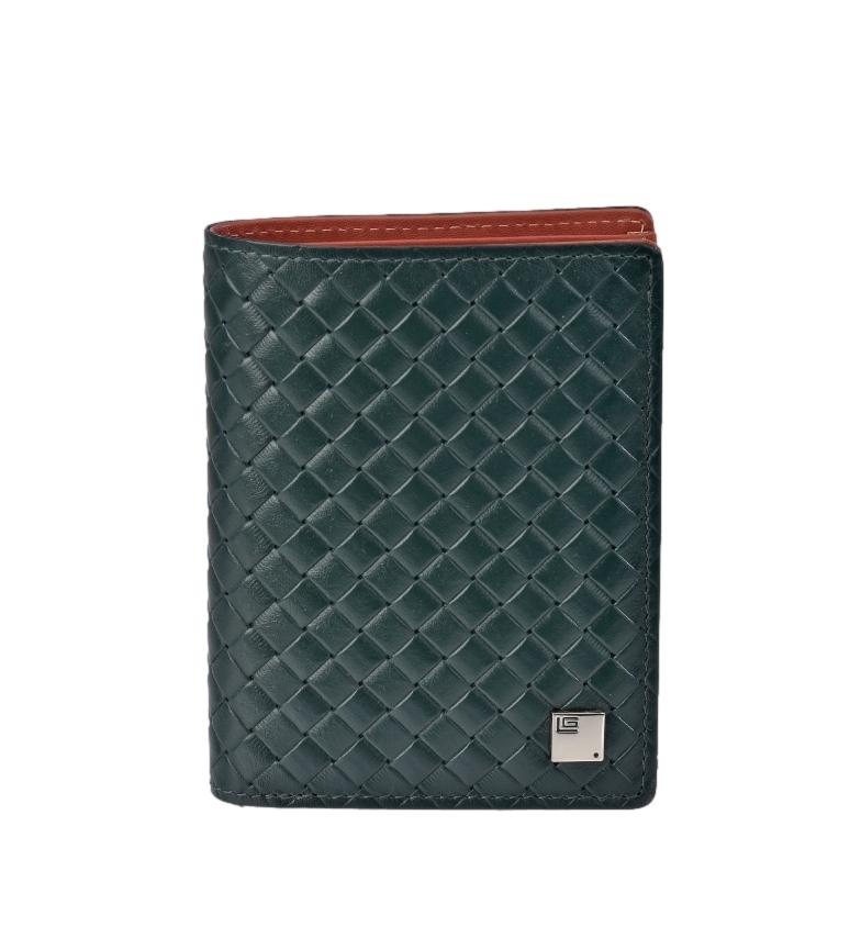Comprar Guy Laroche Braided leather wallet GL-3711 green -8,5x11x1cm