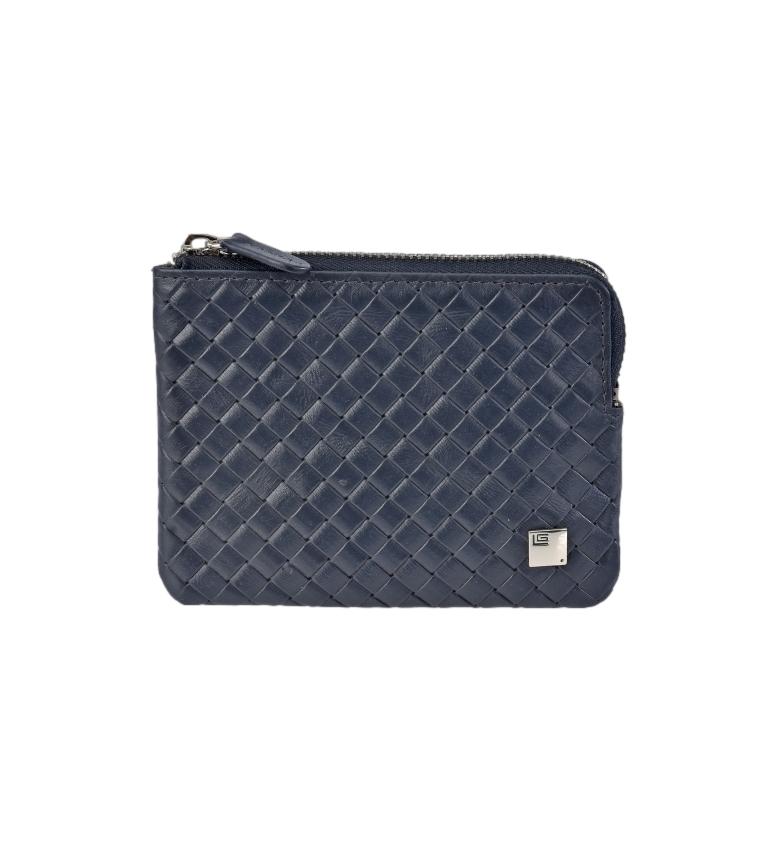Comprar Guy Laroche Braided leather coin purse GL-3717 with blue zipper -11,5x8,5x1cm