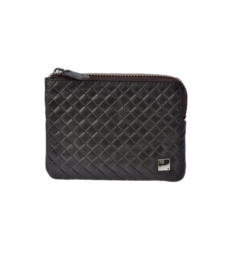 Guy Laroche GL-3717 borsa in pelle intrecciata con cerniera marrone -11,5x8,5x1cm-