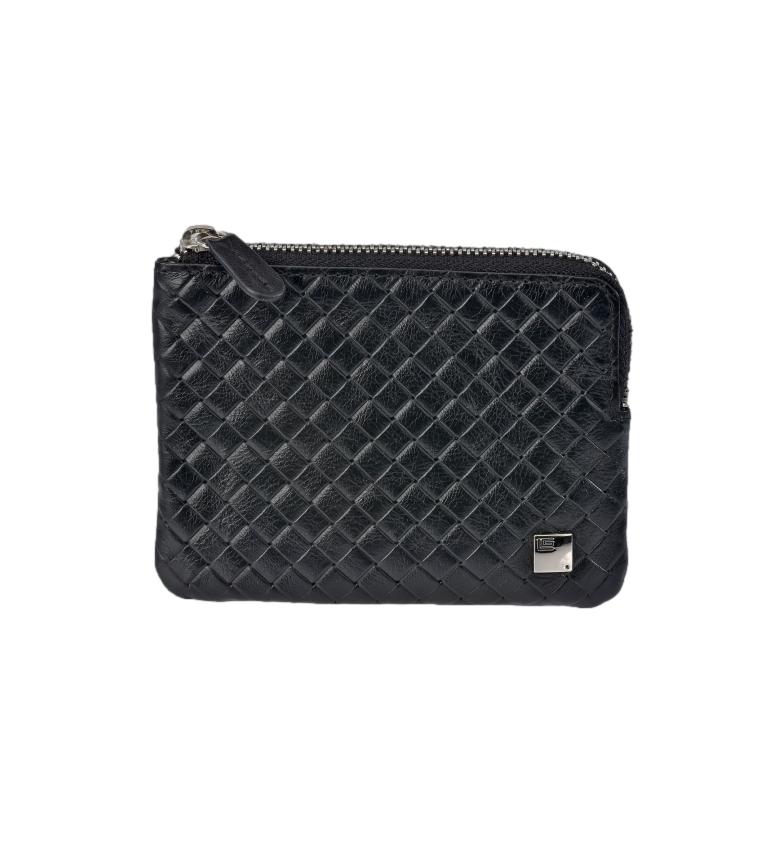 Comprar Guy Laroche Braided leather coin purse GL-3717 with black zipper -11,5x8,5x1cm