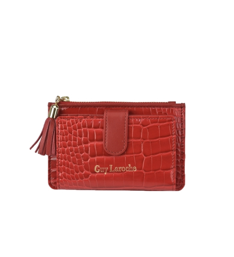 Guy Laroche Porte-monnaie en cuir GL-7506 rouge -14x9x1,5cm