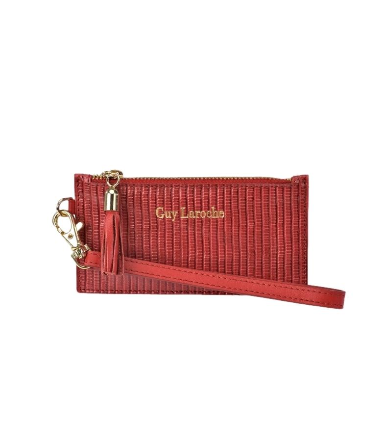 Guy Laroche Tarjetero de piel GL-7479 rojo -14.5x7.5x1cm-
