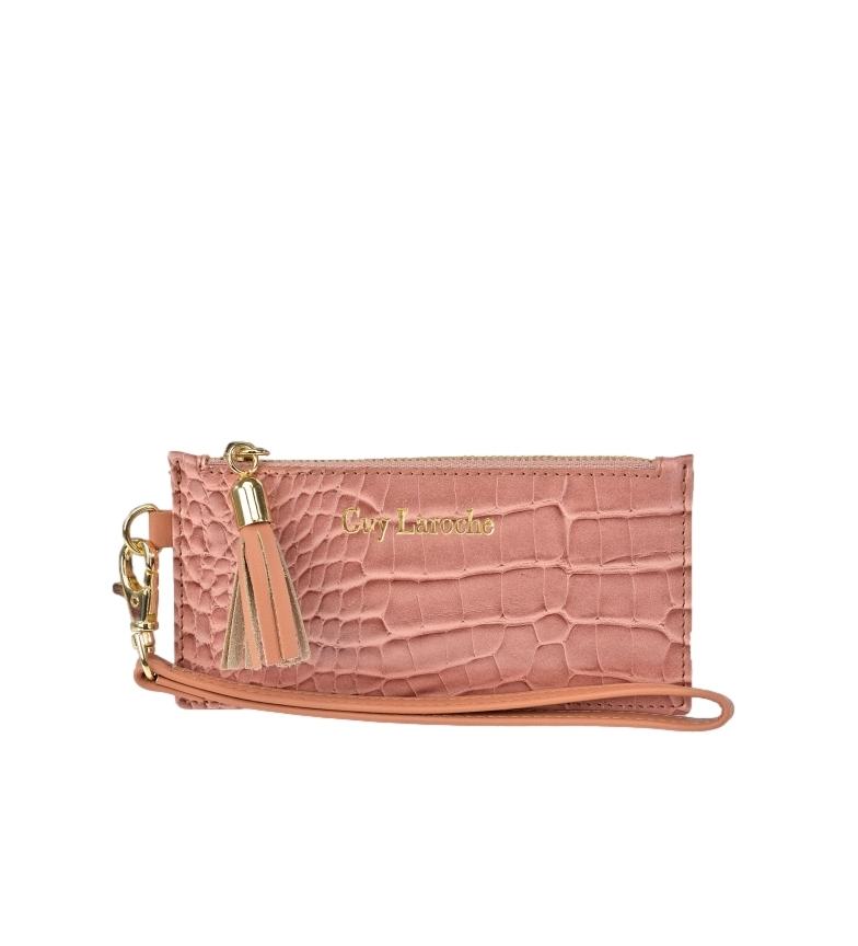 Comprar Guy Laroche Tarjetero de piel con asa de mano GL-7499 rosa -14x7.5x1cm-