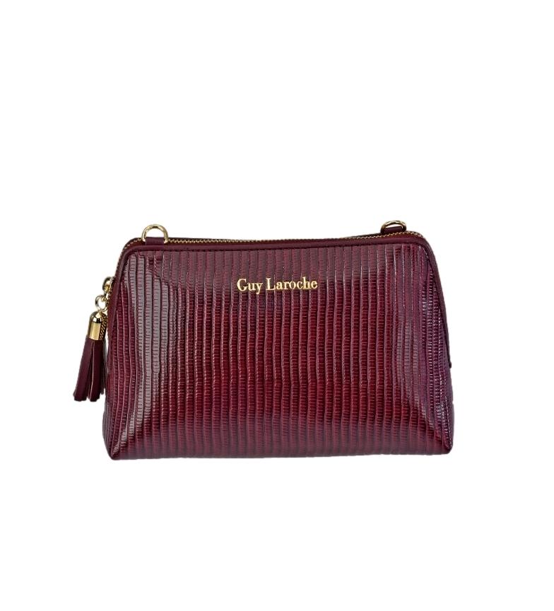 Guy Laroche Beauty case in pelle con manico GL-7485 bordeaux -18x12x6cm-