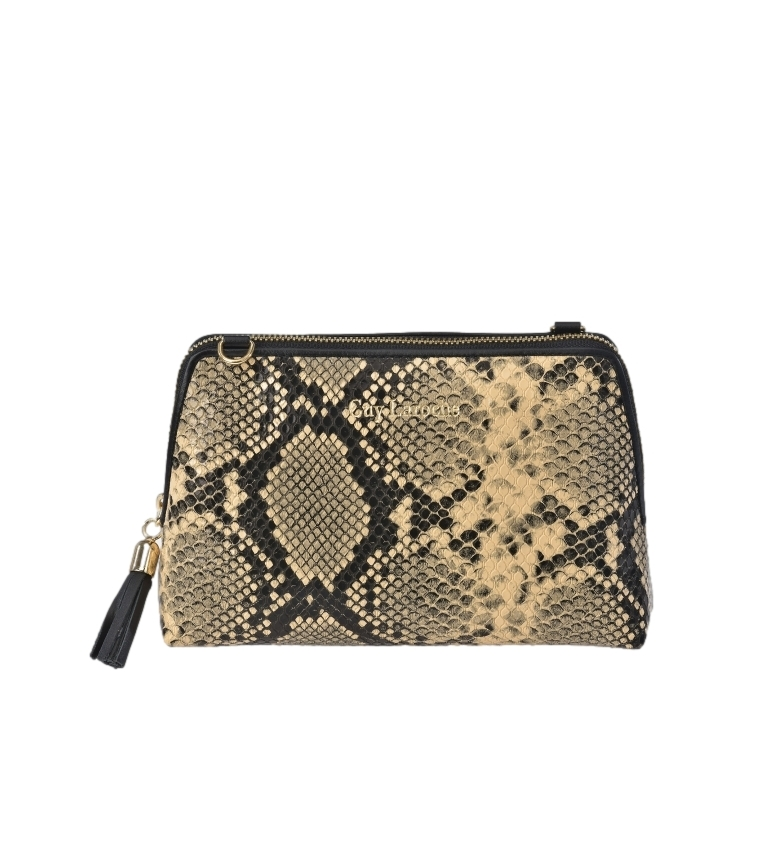 Guy Laroche Beauty case in pelle con serpente inciso GL-7465 beige -18x12x6cm-