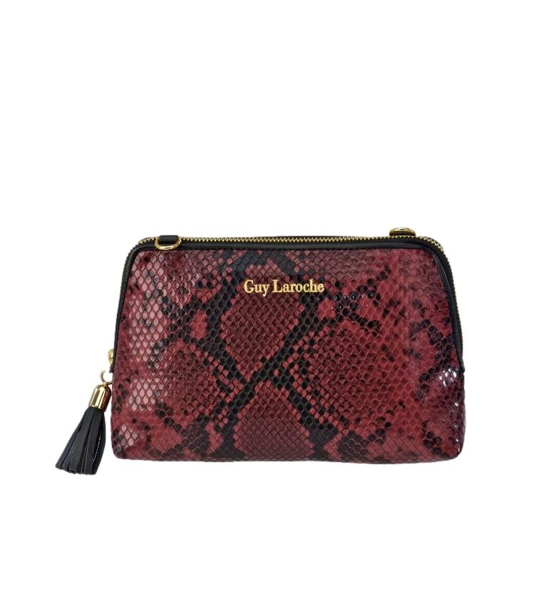 Guy Laroche Beauty case in pelle incisa serpente GL-7465 bordeaux -18x12x6cm-