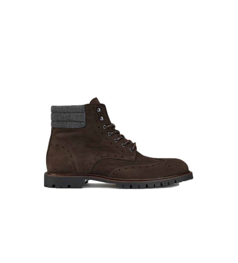 HACKETT Commando brown leather ankle boots