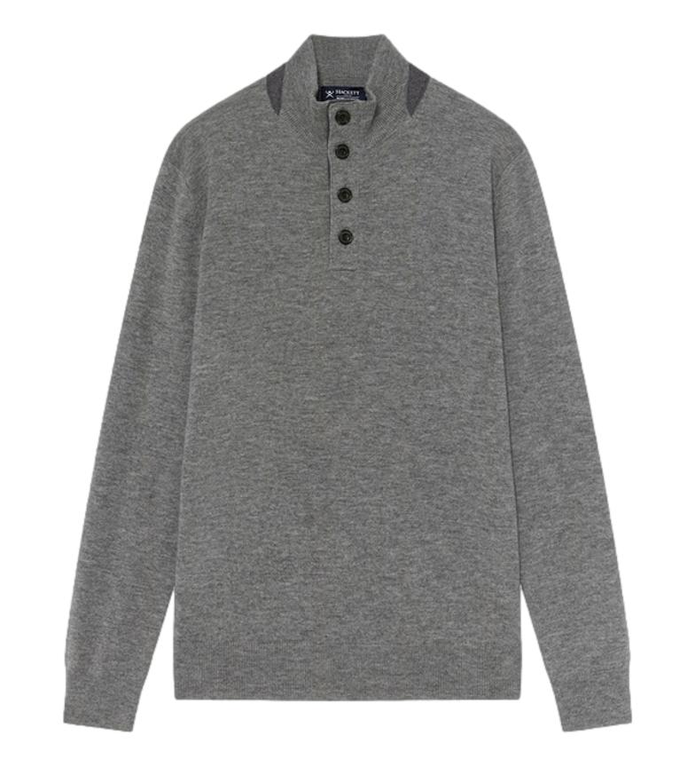 HACKETT Detail Hbutton Sweater grey