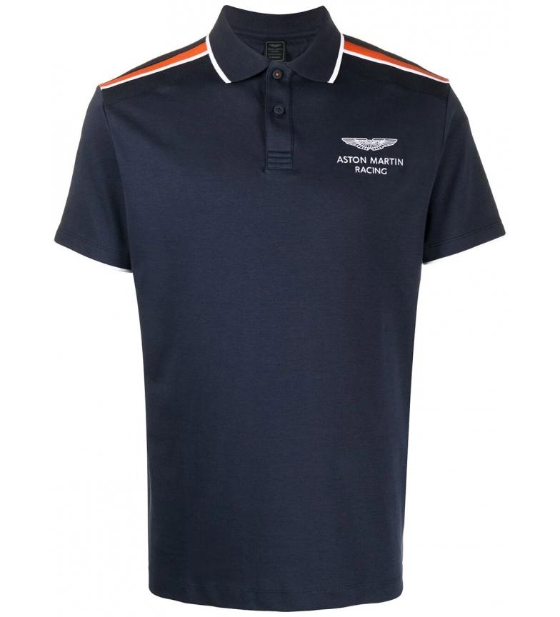 HACKETT Polo blu navy con spalle lavorate a maglia AMR