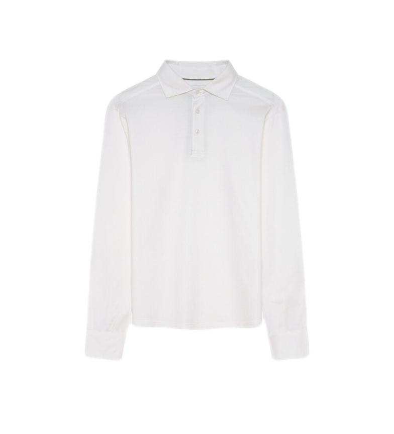 HACKETT White Piqué Silk Polo Shirt