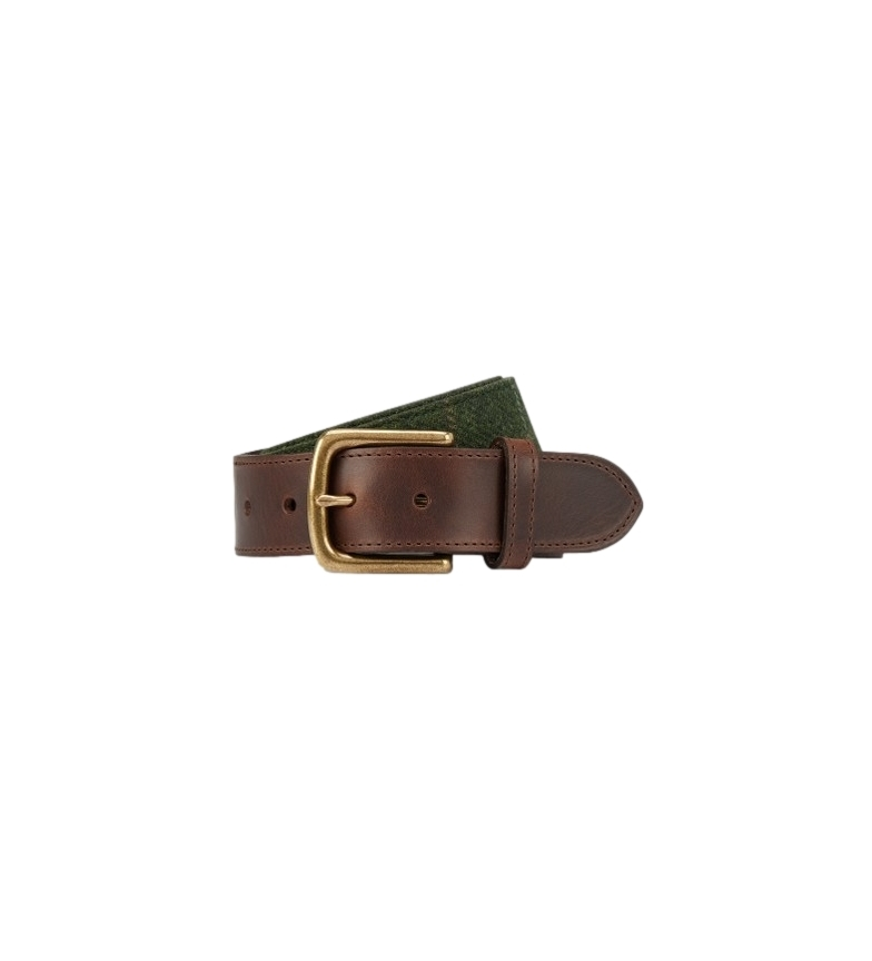 Comprar HACKETT Leather belt Tweed brown, green