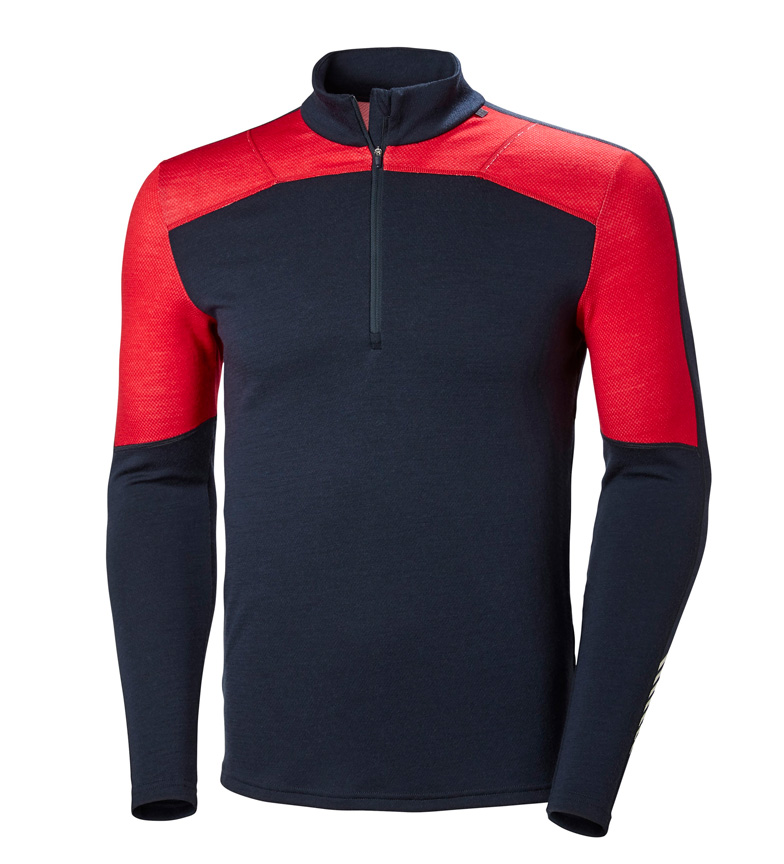 Comprar Helly Hansen Camiseta HH Lifa Merino 1/2 ZIP marino, rojo