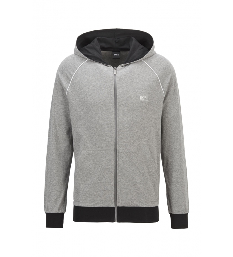 Hugo Boss Full Zip Hooded Sweatshirt in Cotton Stretch Knit with Contrast Ribbed Trim in Grey