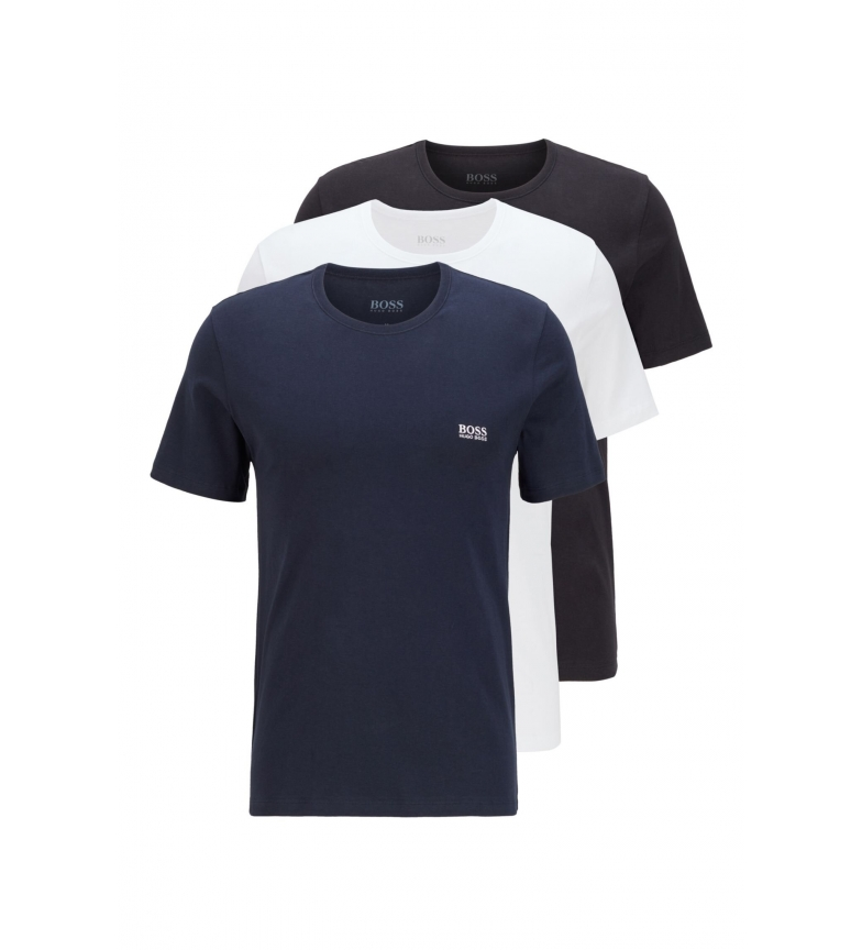 Comprar Hugo Boss Pack of 3 Regular Fit T-shirt in navy, white, grey cotton.