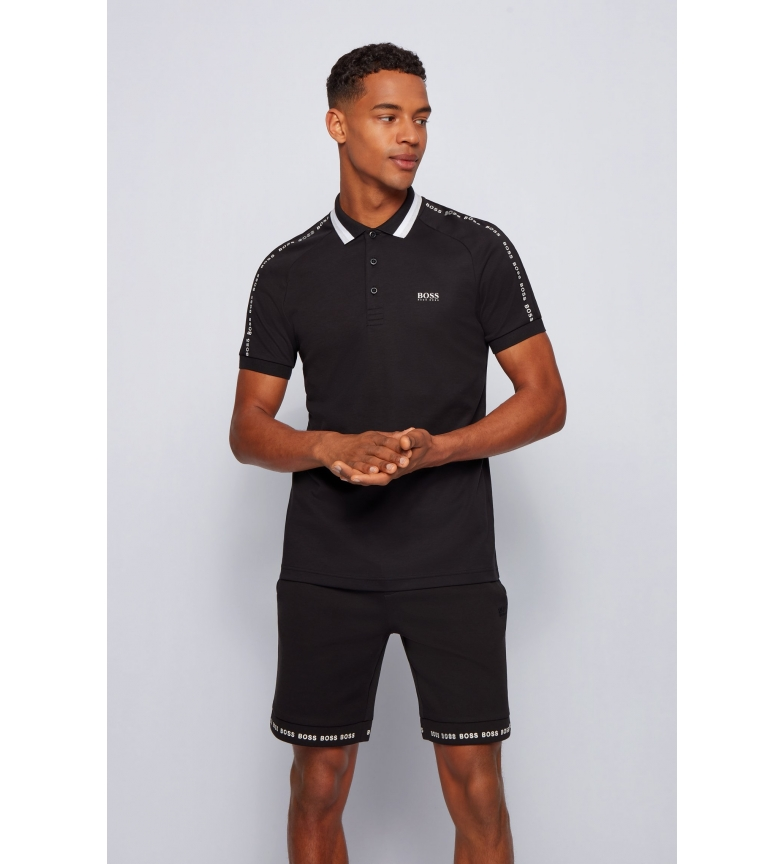 Hugo Boss Slim Fit Cotton Polo Shirt with Striped Collar black