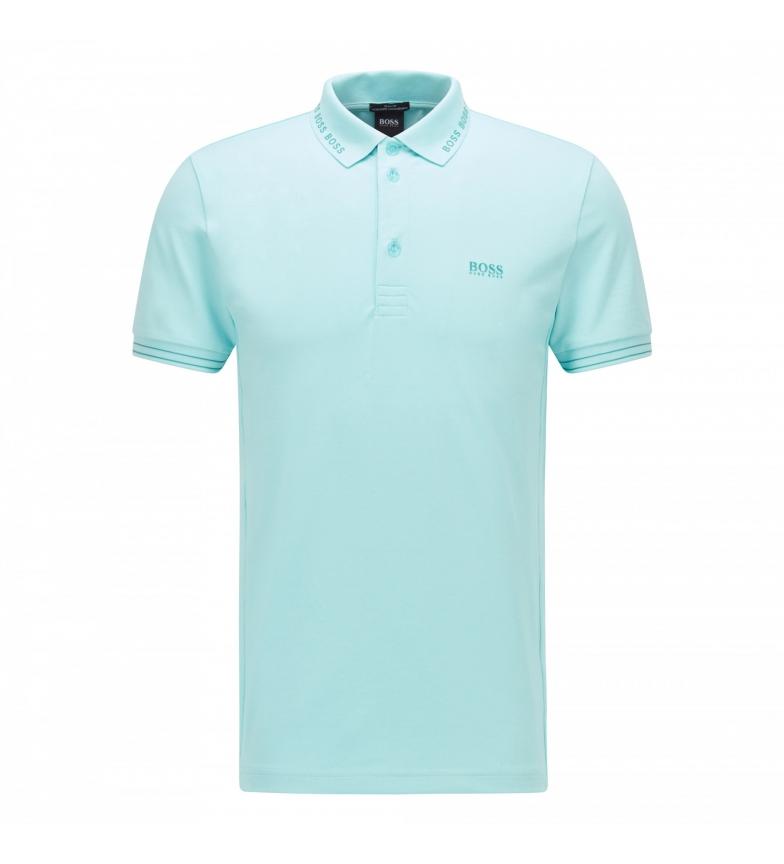 Comprar Hugo Boss Pólo Slim Fit com logotipo no colarinho azul Paule