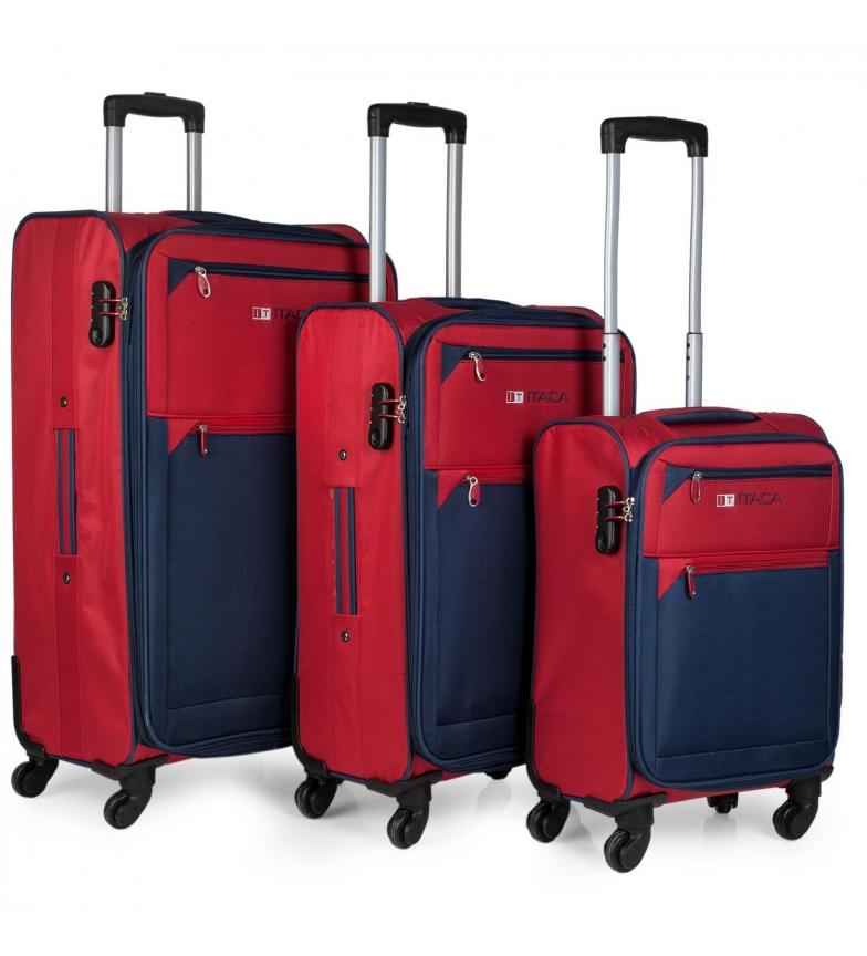 Comprar ITACA Set valigie rosso, blu scuro -50x60x70cm-