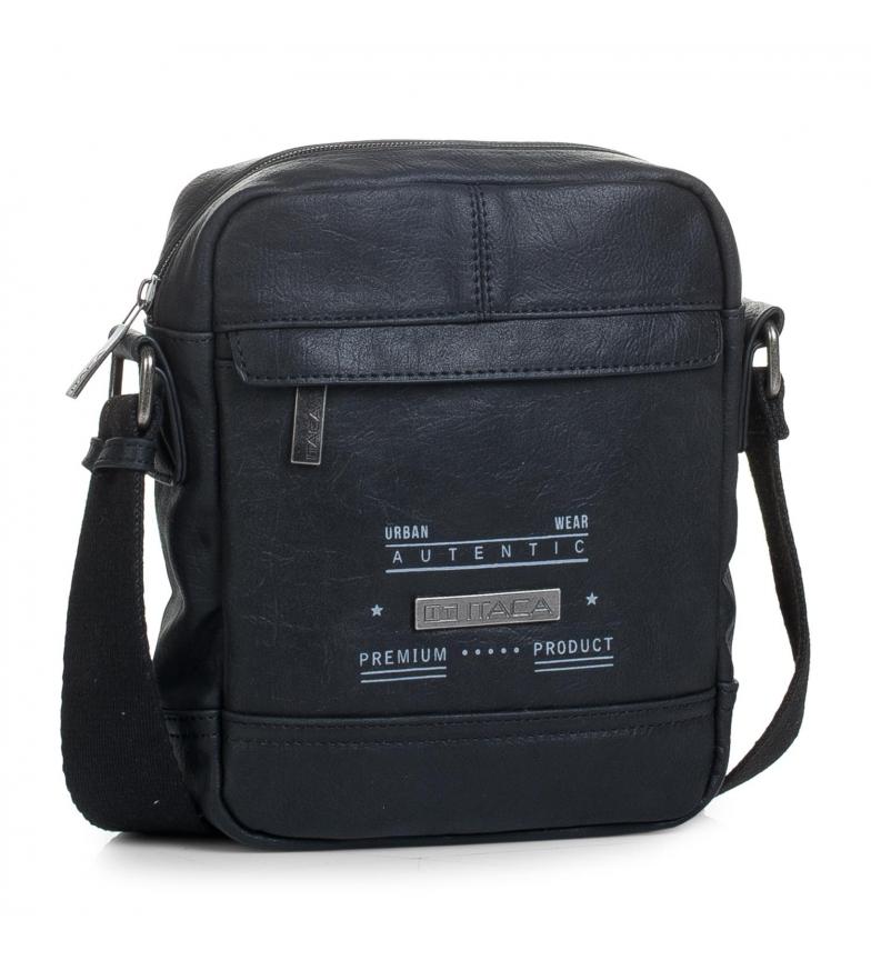 Comprar ITACA Black leather shoulder bag -22x18x6cm