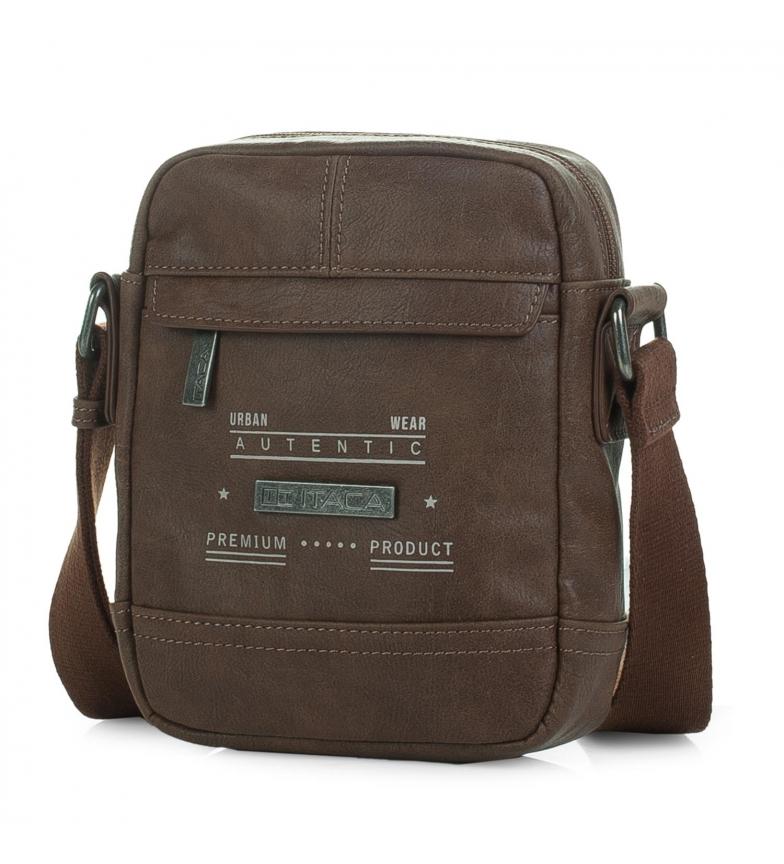 ITACA Leather shoulder bag T26019 brown -16x20x5cm