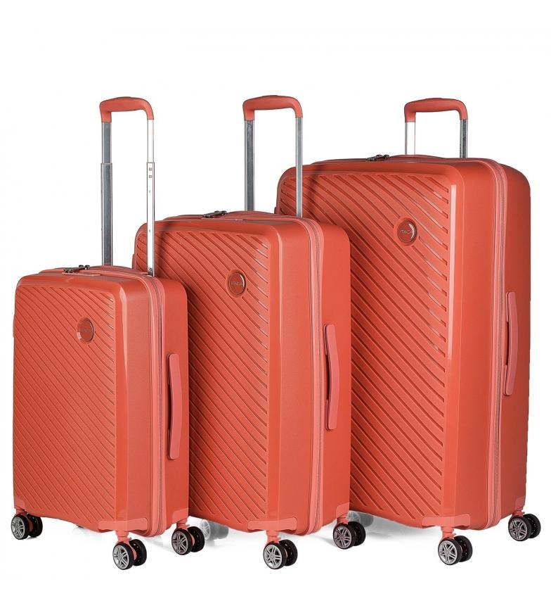 ITACA Set di valigie rigide 760000 corallo