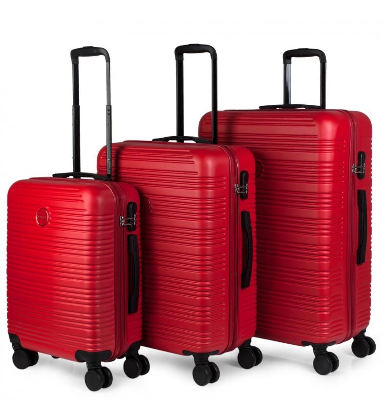 Comprar ITACA Set di valigie da viaggio a 4 ruote con rivestimento rigido T72100 rosso