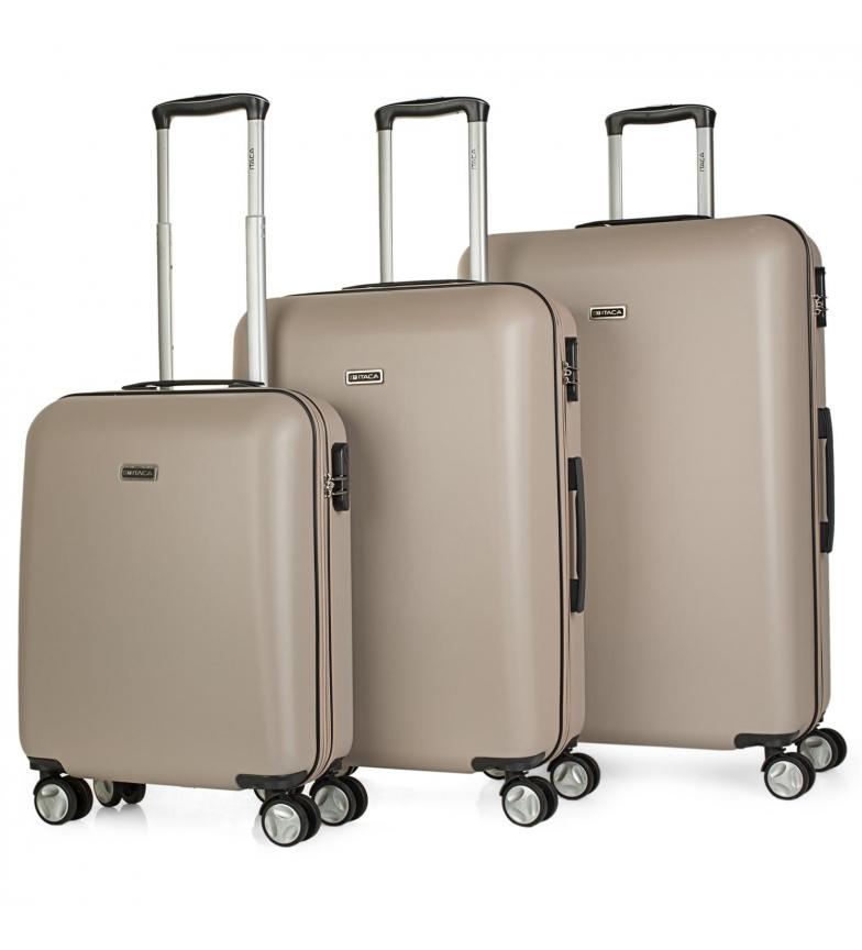 ITACA Set di valigie da viaggio rigide a 4 ruote T58000 champagne -55x40x20cm