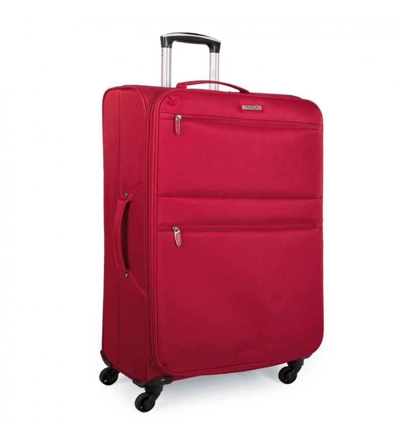 ITACA Mallette à 4 roues pour cabine souple I52750 rouge -55x40x20cm