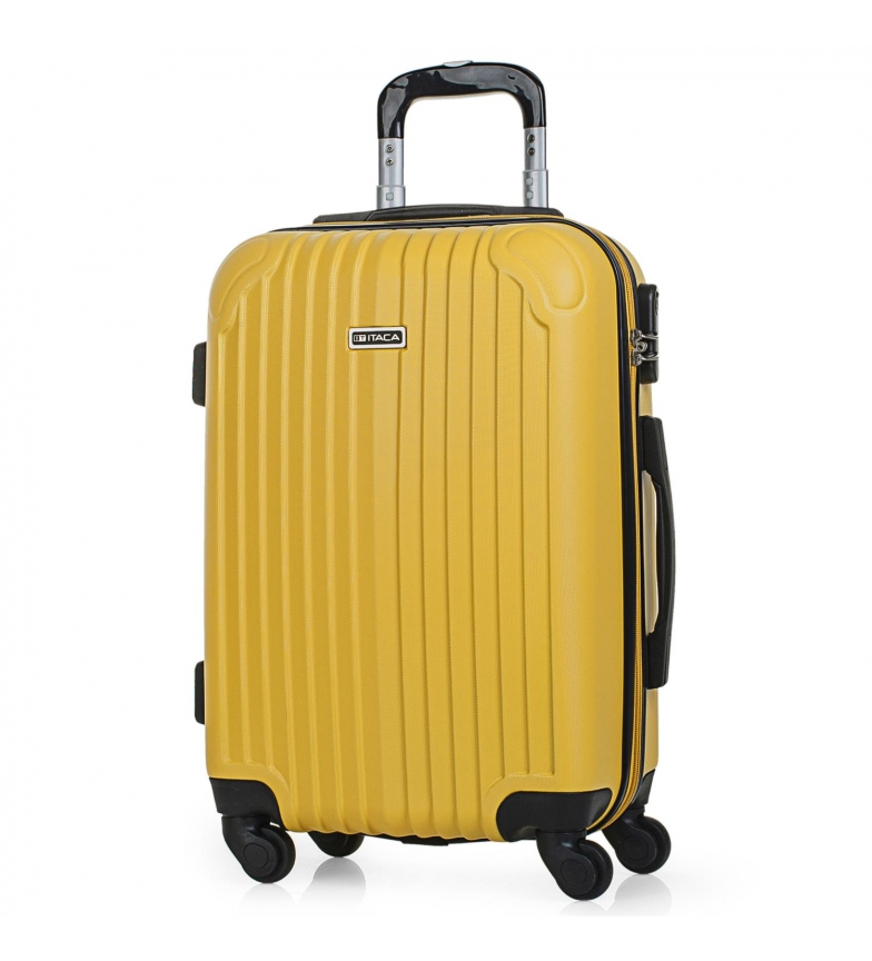 ITACA Valise de voyage 4 roues cabine rigide T71550 moutarde -55x38x20cm