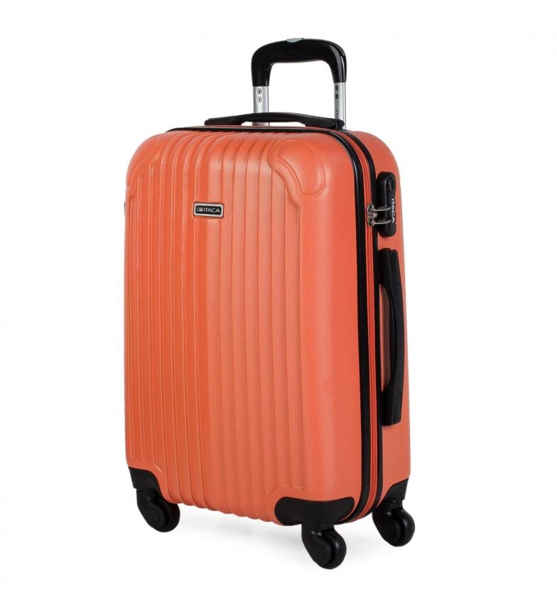 ITACA Valigia da viaggio a 4 ruote cabina rigida T71550 mandarino -55x38x20cm