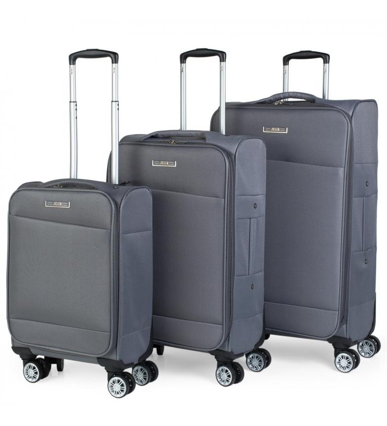 Comprar Jaslen Set di 3 carrelli 101000 grigio scuro -35x55x18cm / 40x69x22 / 45x77x24cm-