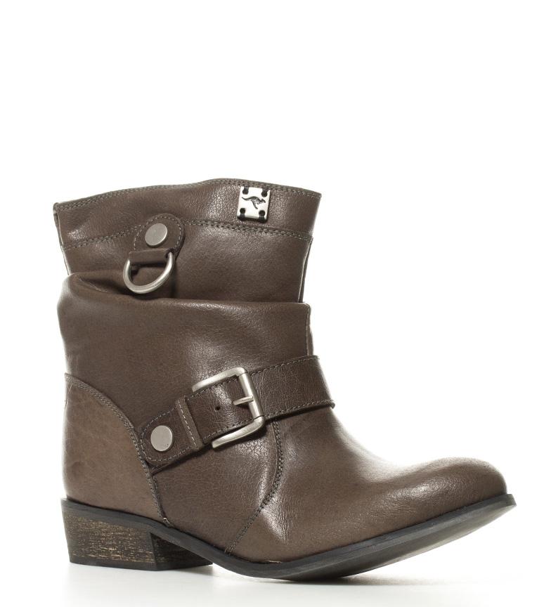 3 5cm Altura Botines piel color de Kangaroos grisáceo marrón tacón xnz8q4nwP1