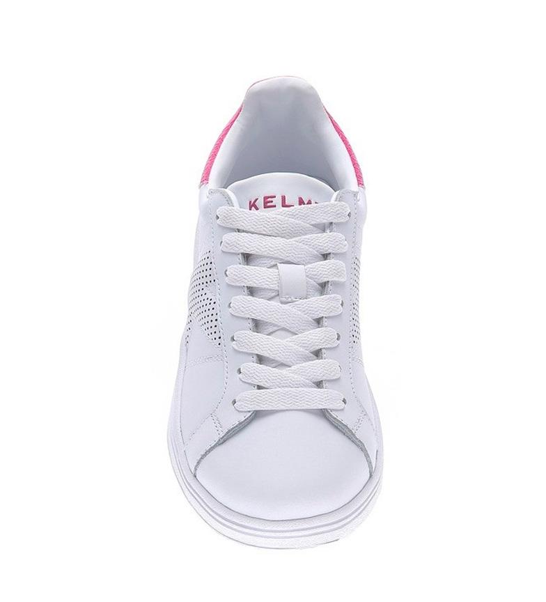 Kelme-Baskets-Omaha-Micro-K-Legend-Femme-Blanc-Dore-Plat-Lacets-Casuel